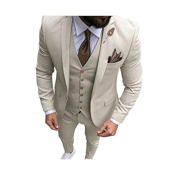 Amazon.com: Chaleco para hombre de color beige y marfil de 3 ...