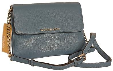 f643beb415efe Michael Kors Bedford Double Gusset Leather Crossbody Handbag Sky ...