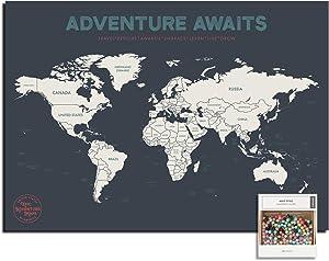 Epic Adventure Maps Push Pin World Map Poster 24