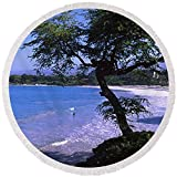 Pixels Round Beach Towel With Tassels featuring ''Trees On The Beach, Mauna Kea, Hawaii'' by Pixels