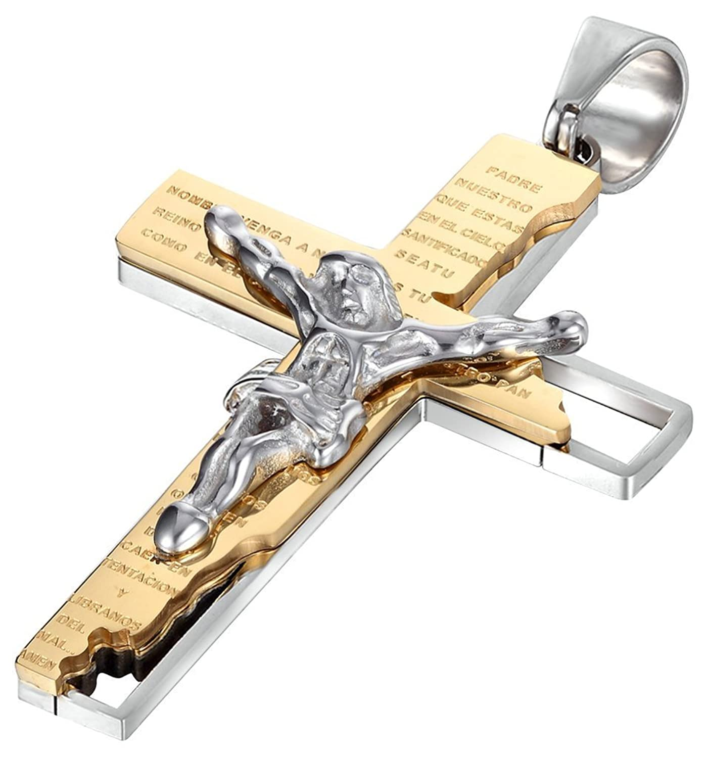 Jwoolw jewelry tainless Steel Men Pendant Necklace Cross Jesus Crucifix Rood Bible Prayer with 23 inch Chain