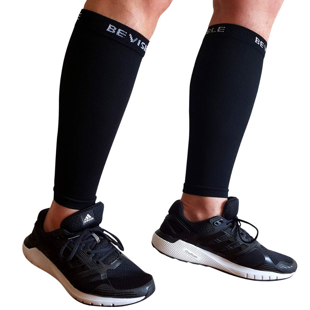 BeVisible Sports Calf Compression Sleeve Shin Splint Leg Compression Socks for Men & Women - Great for Running, Cycling, Air Travel, Support, Circulation & Recovery - 1 Pair (Black, Large - XL) by BeVisible Sports