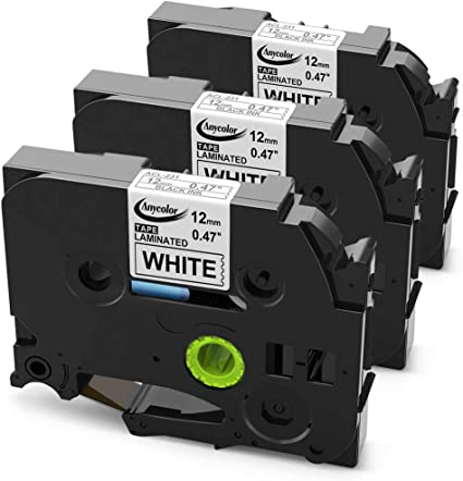 """1//2/"""" 3PK Black on White Label Tape For Brother TZ231 TZe231 12mm 8m P-Touch"""
