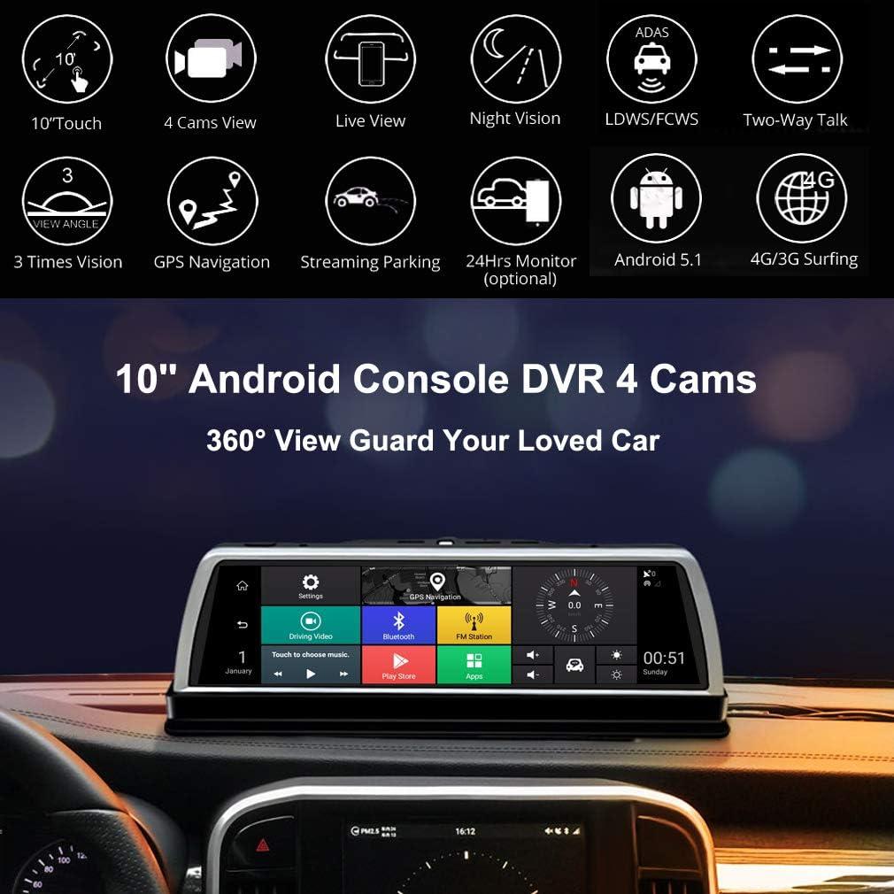SZKJ K600 Cam/éra de Tableau de Bord panoramique /à 360/° 4 G Cam/éras enregistreur 10 Tactile Android r/étroviseur GPS Navi ADAS WiFi Bluetooth Surveillance /à Distance