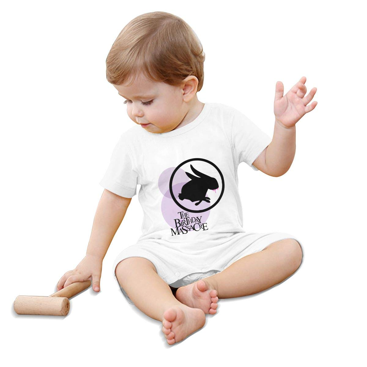 RhteGui The Birthday Massacre Rompers Solid Infant Short Sleeve Pajamas Unisex Cotton Summer for 0-24 Months