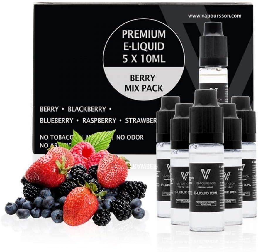 VAPOURSSON 5 x 10 ml Liquid E Berry pack   Berry Mix   Blueberry   Blackberry   Frambuesa   Fresa   Ingredientes de ...