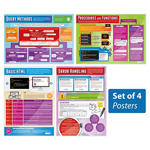 Programming Posters - Set of 4 | Classroom Posters for Computer Science | Gloss Paper measuring 33 x 23.5, School Posters for the Classroom, Educational Charts, by Daydream Education