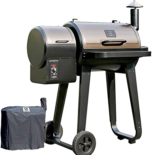 ZGRILLS Pellet Grill and Smoker,450 Square Inches Grilling Area with Digital Auto Temperature Control 6 in 1 Outdoor Wood Pellet BBQ Grills Include Weather-Resistant Cover,Black
