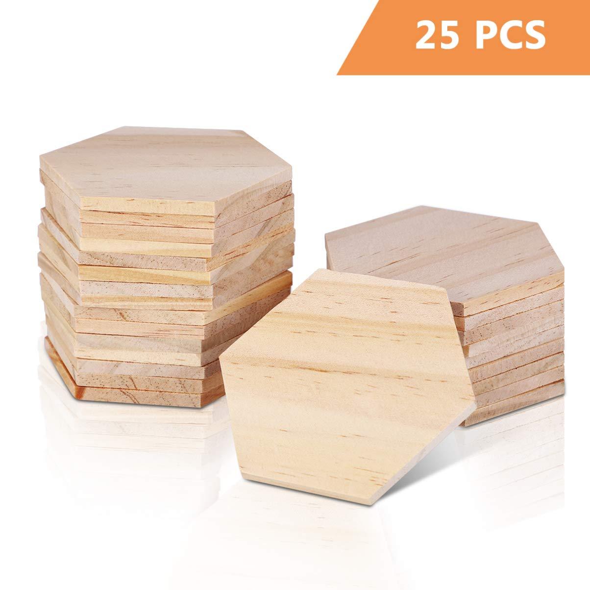 SUPVOX 25 piezas de madera rebanadas hexagonales etiquetas de nombre en blanco adornos de madera para fiesta boda decoraci/ón del hogar 9 cm