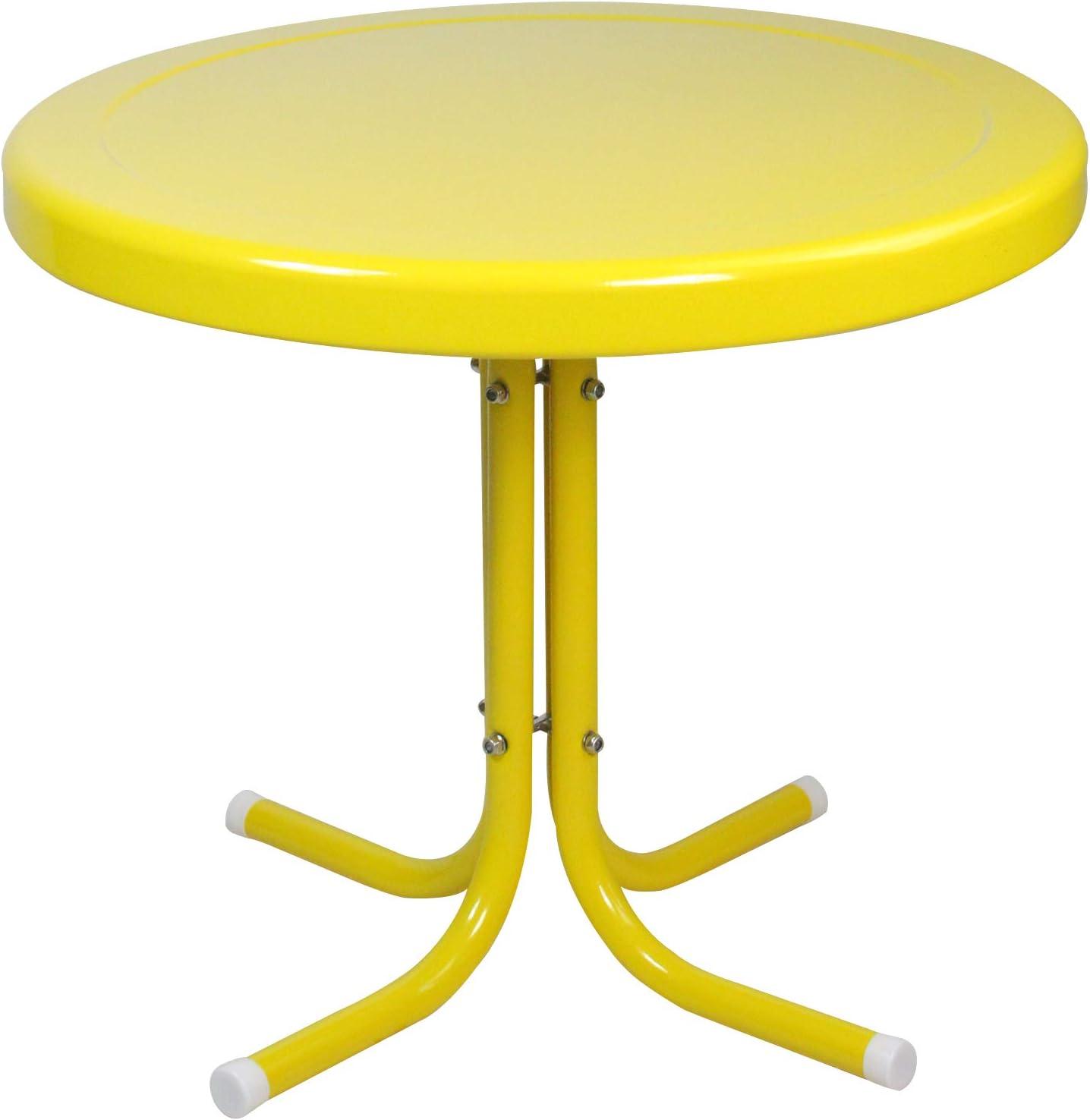 LB International Outdoor Retro Metal Tulip Side Table, Yellow