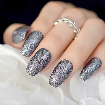 Amazon.com : Shimmer Glitter Press On Nail Coffin Design Kit Medium ...