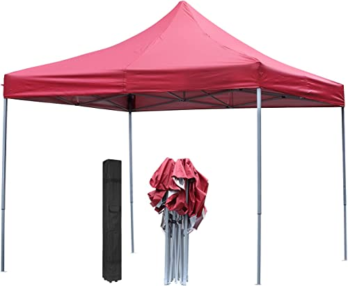 DOIT 10ft x 10ft Outdoor Portable Pop Up Shade Instant Folding Canopy,Party Tent,Height Adjustment,Sturdy High Grade Steel Frame,Portable Wheeled Carrying Bag,Red