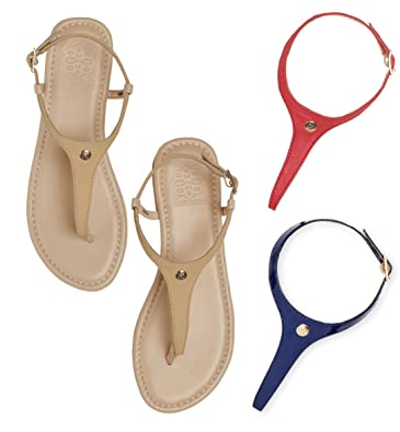 CAMBIAMI - Leather T-Strap Slingback Flat Sandals - Includes Three  Interchangeable Strap Sets (