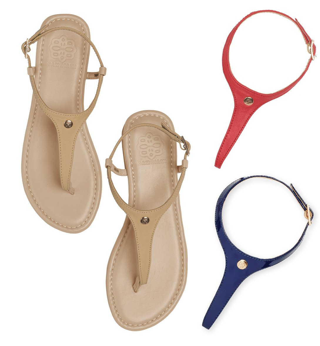 Cambiami - Leather T-strap Slingback Flat Sandals - Includes THREE Interchangeable Strap Sets (Tan, Red, & Navy) & Nude Sole - Stylish & Comfortable - Women's Size 8 by CAMBIAMI