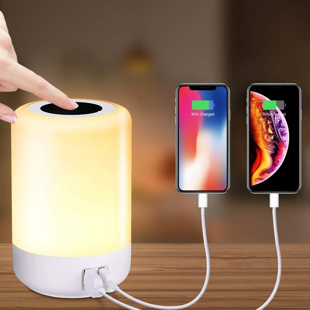 Luz de Nocturna LED, solawill Lámpara de Mesita de Noche hay 4 puertos USB, 8 colores RGB conmutables y brillo de 3 niveles puede cambiar el color, proteger los ojos, utilizar en el dormitorio o salón