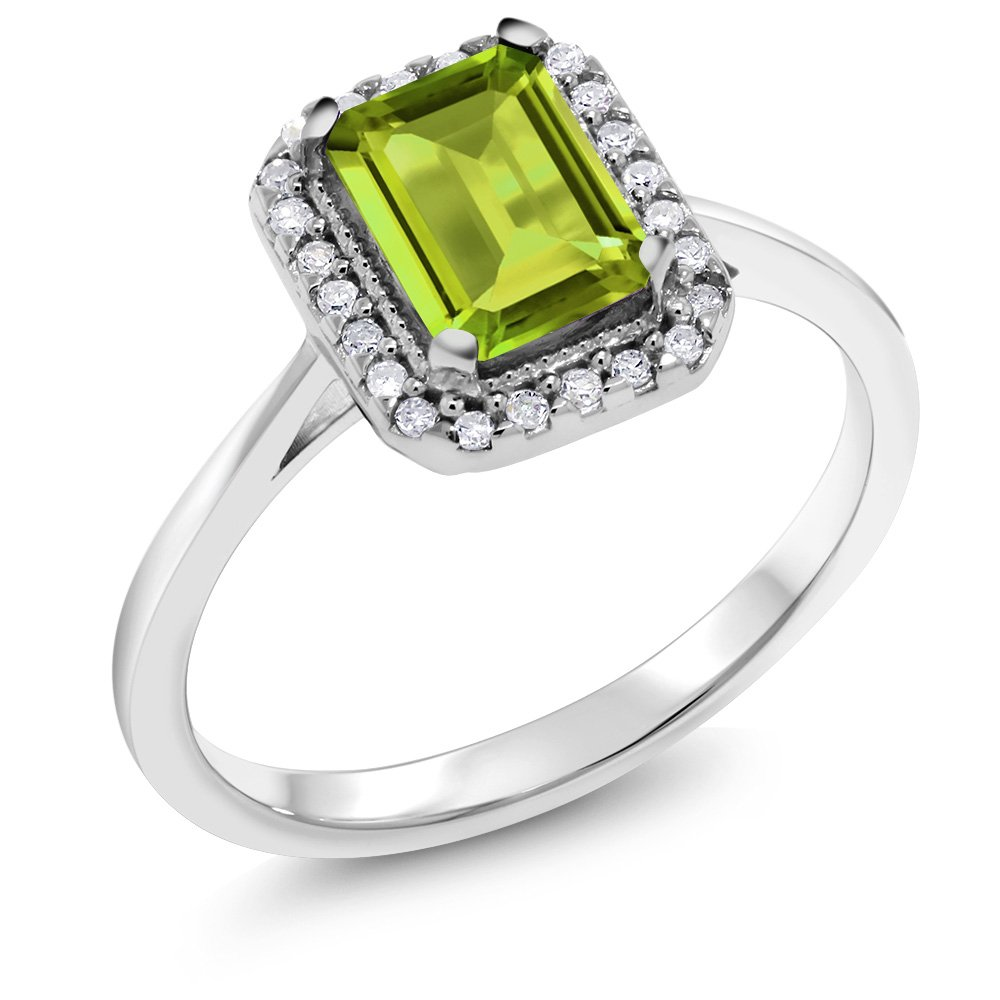10K White Gold Green Peridot Aand White Diamond Women's Ring (1.15 Cttw Emerald Cut Available 5,6,7,8,9)