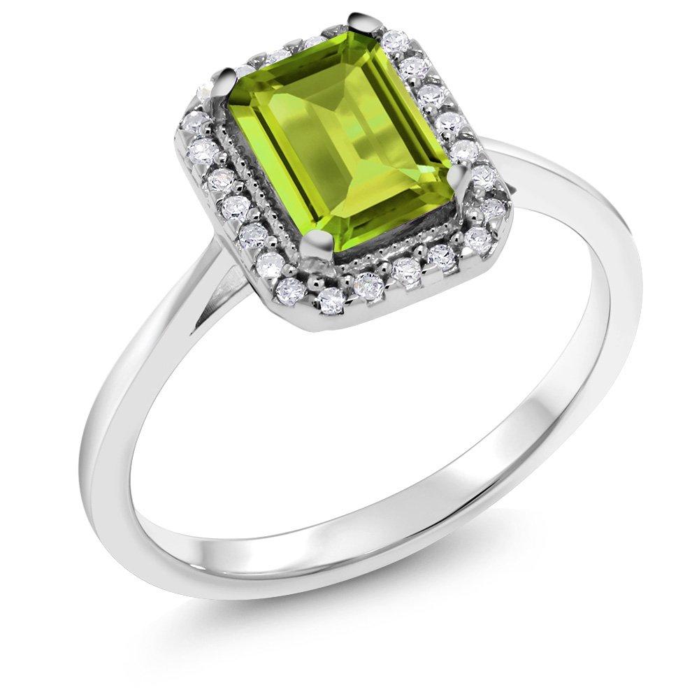 Gem Stone King 10K White Gold Green Peridot Aand White Diamond Women's Ring (1.15 Cttw Emerald Cut Available 5,6,7,8,9) (Size 9)