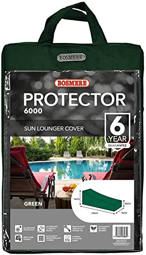 Bosmere Weatherproof Lounge Chair Cover, 69 Long x 30 Wide x 30 High at Back, Green