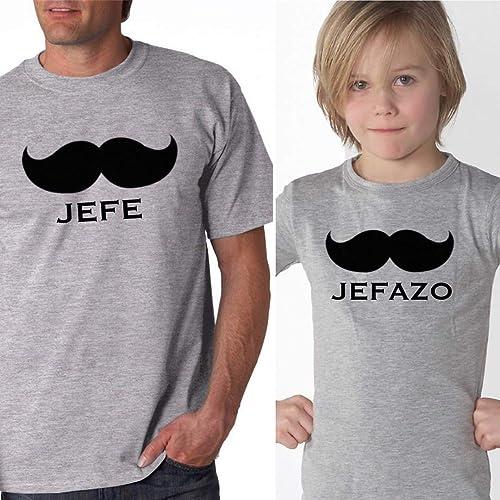 PACK Camisetas M/C JEFE-JEFAZO Gris (Hombre-Niño-Bebé): Amazon.es ...