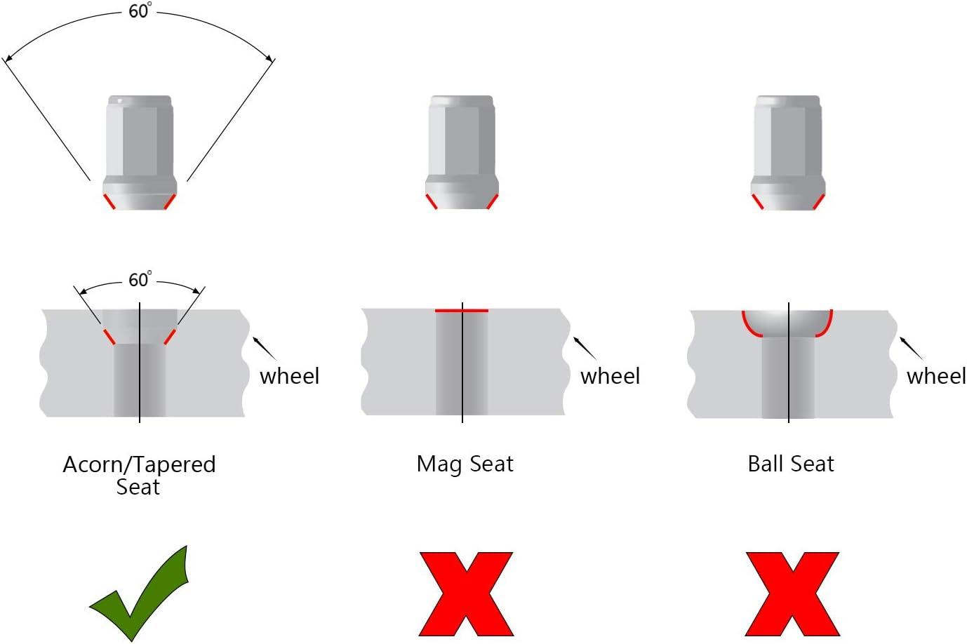 TC Sportline WH-LN12UN138BK 20 pcs Black Bulge Acorn Wheel Lug Nuts 1//2-20 Closed End 1.38 Tall 3//4 Hex