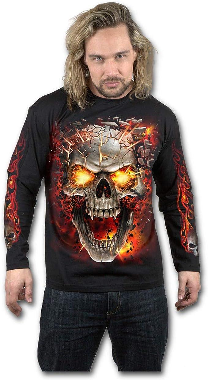 Spiral Triple 6 Men/'s Black Long Sleeve Skull T-Shirt Gothic,Goth