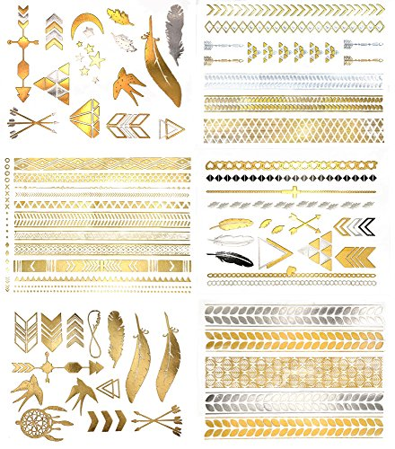 [Premium Metallic Temporary Hair Tattoos - 75+ Temporary Shimmer Designs in Gold & Silver (Hazel] (Ups Package Costume)