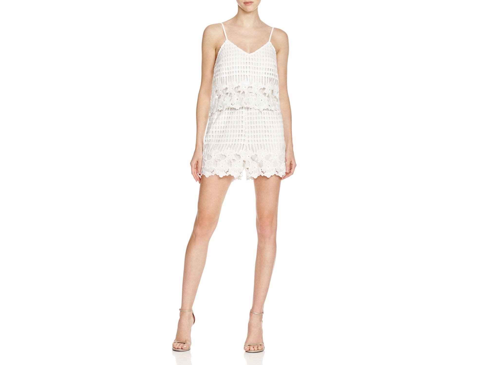 Aqua Women's Border Lace Double Layer Romper in White Size X-Small