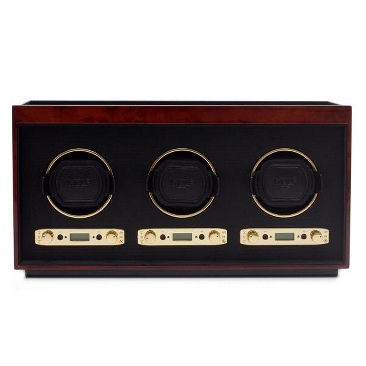 Men's Triple Watch Winder Box Wood Veneer with 57 Winding Programs for Home or Travel in 3 Colors by Allurez