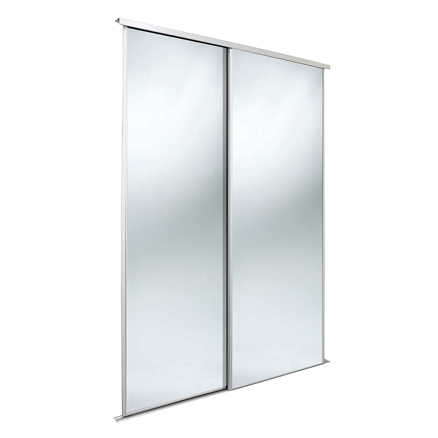 SpacePro Value twinpack 610mm 3mm silver mirror/white frame/trackset Home Decor