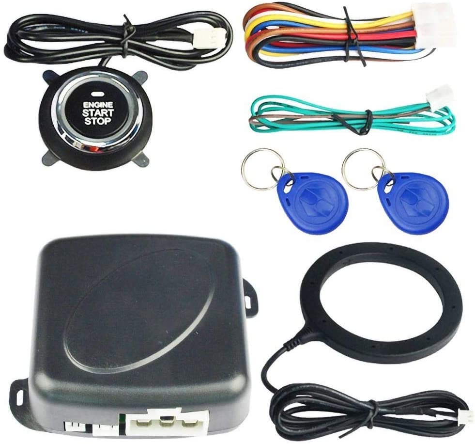 Alarma Coche Alarma de automóvil Inicio STOP MOTOR PUSH Botón Pulsador RFID Bloqueo de encendido Interruptor de encendido sin llave Sistema de antirroño de entrada para automóviles Cierre Centralizado