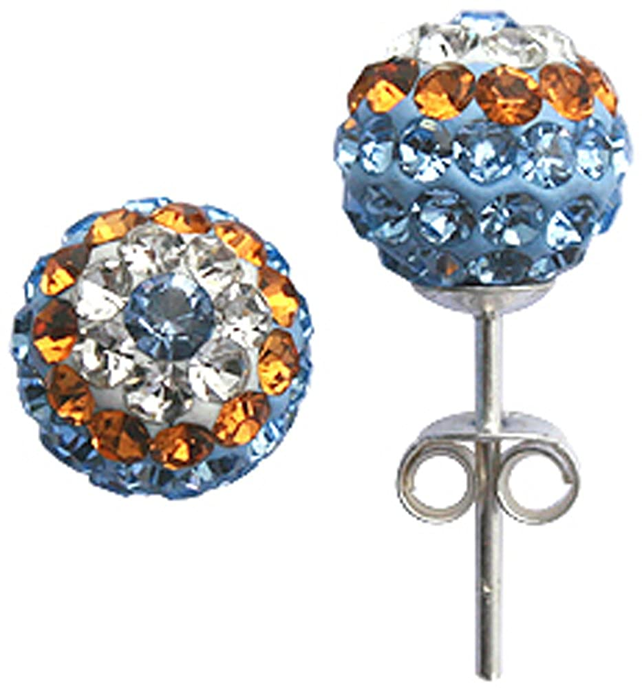 evil eye Silver shamballa ball earrings or pendant with mix CZ crystals