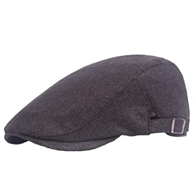 28001bad91a WeiMay Unisex Cotton Beret Cap Spring and Autumn Flat Cap Travel Leisure  Forward Hat(Black