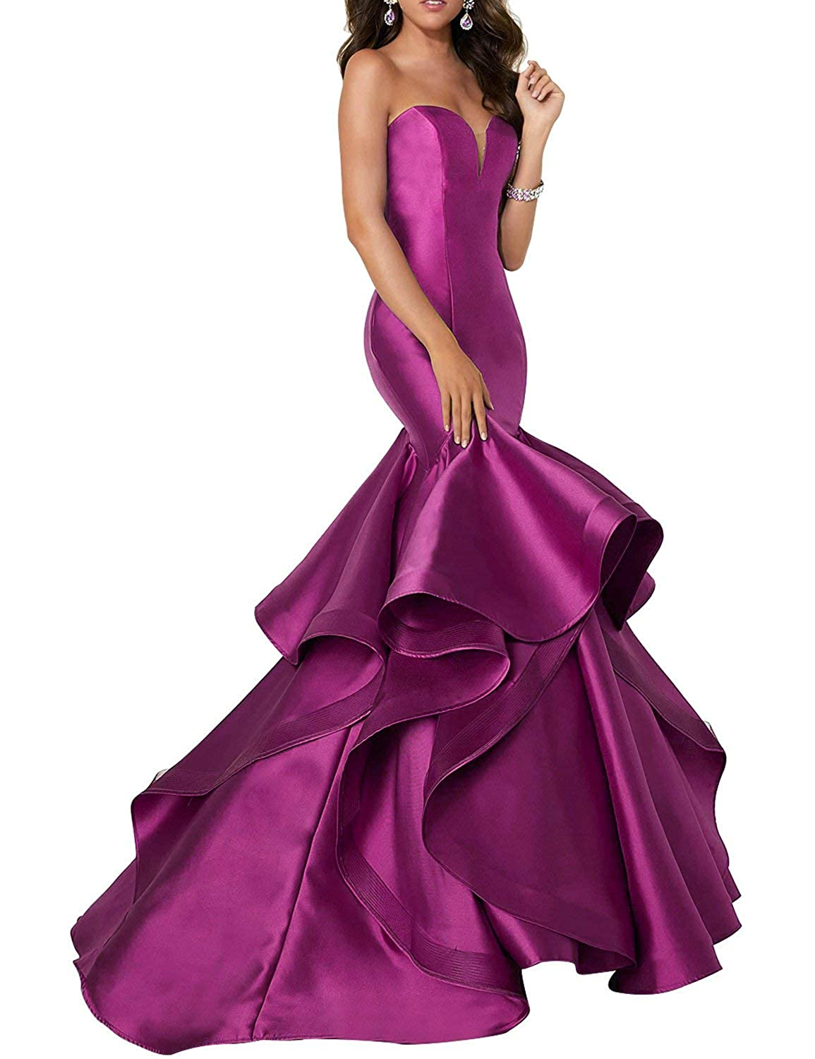 Fuchsia Scarisee Women's Sweetheart Mermaid Prom Evening Party Dresses Tiered FormalSA51