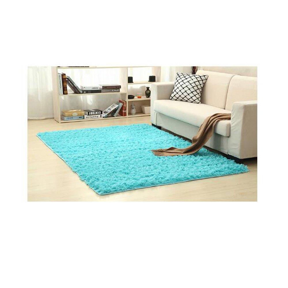 Tappeto rettangolare antiscivolo, rivestito in morbido pelo, perfetto per soggiorno e camera da letto, Blue, 60 x 90 cm HTDirect