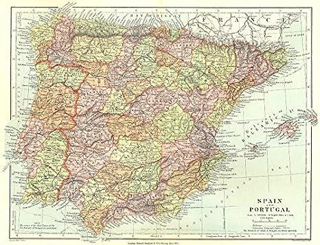 Iberia: España y Portugal Que Muestra las Provincias. Stanford, Mapa De 1906: Amazon.es: Hogar