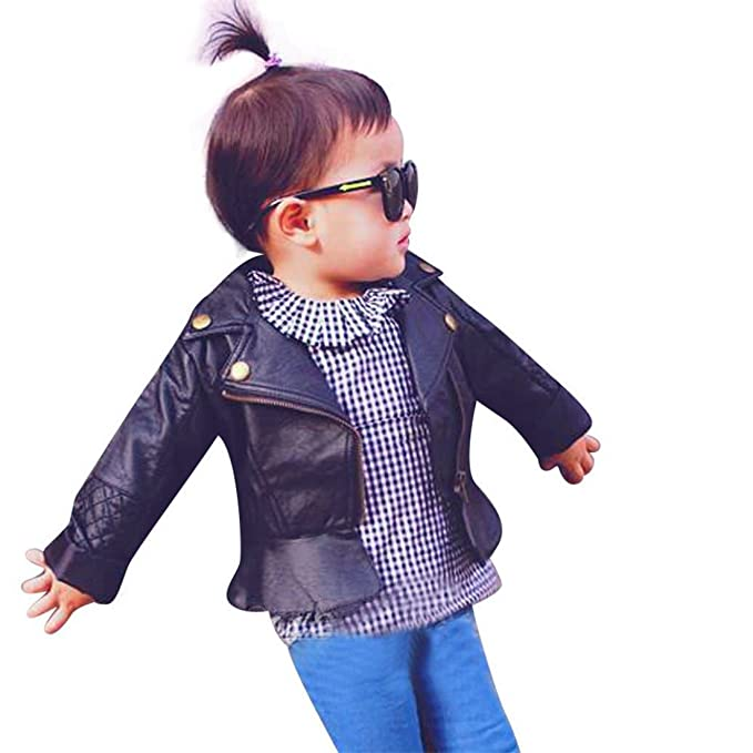 407359cdc Amazon.com  HANYI Child Kid Baby Fashion Infant PU Leather Jacket ...