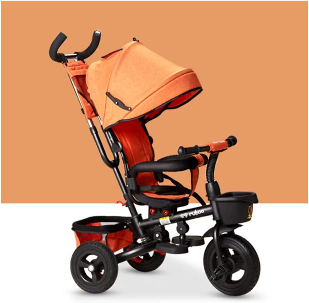 HBSC Triciclo Infantil de bebé Plegable, Asiento Giratorio 360 ° Varilla de Empuje y toldo extraíble Rueda de Goma con Embrague y Freno, Apto para 1-6 años, 6 Colores 1bicycle Regalo Orange