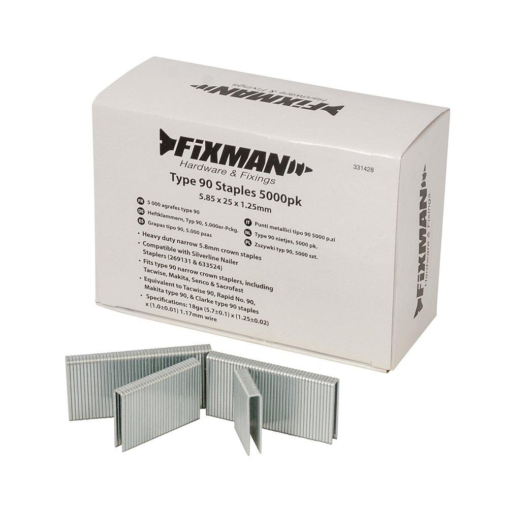 Fixman 331428 Type 90 Staples 5.85 x 25 x 1.25mm Pack of 5000