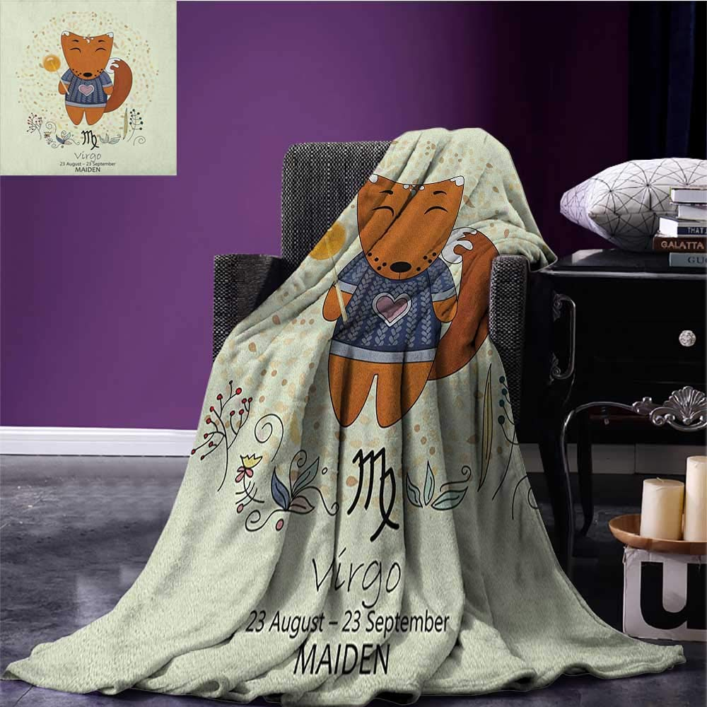 Zodiac Virgo summer blanket Funny Happy Cartoon Character on a Floral Background Kids Horoscope Design Flannel Multicolor size:60''x80''