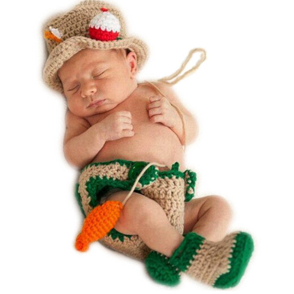 Newborn Baby Photo Props Outfits Crochet Fishing Fisherman & Fish Hat Diaper Shoes Coberllus