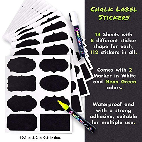 Chalkboard Labels: 112-pcs Assorted Shapes & Sizes, Reusable & Waterproof Chalkboards Sticker Labels for Mason Jars, Kitchen/Pantry and Office Organizing Comes with Easy to Ink White & Yellow Markers by Lemostaar