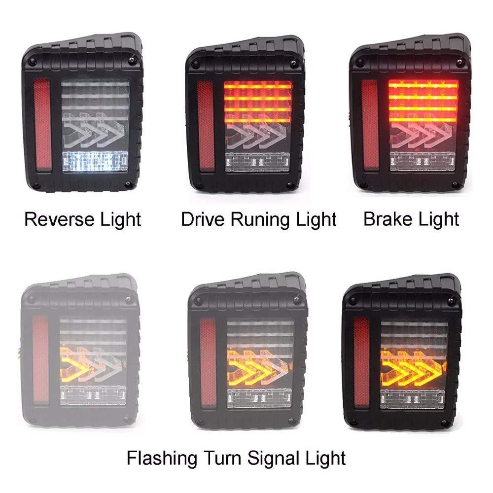 New World Motoring Arrow Pattern Led Tail Lights Rear Lamp Brake Jeep Wrangler Tj Reverse Turn Signal Light For