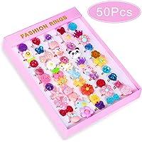 Hicdaw 50PCS Kids Rings for Girls Adjustable Rings Set for Girls Pretend Play Dress Up Rings Little Girls Gift