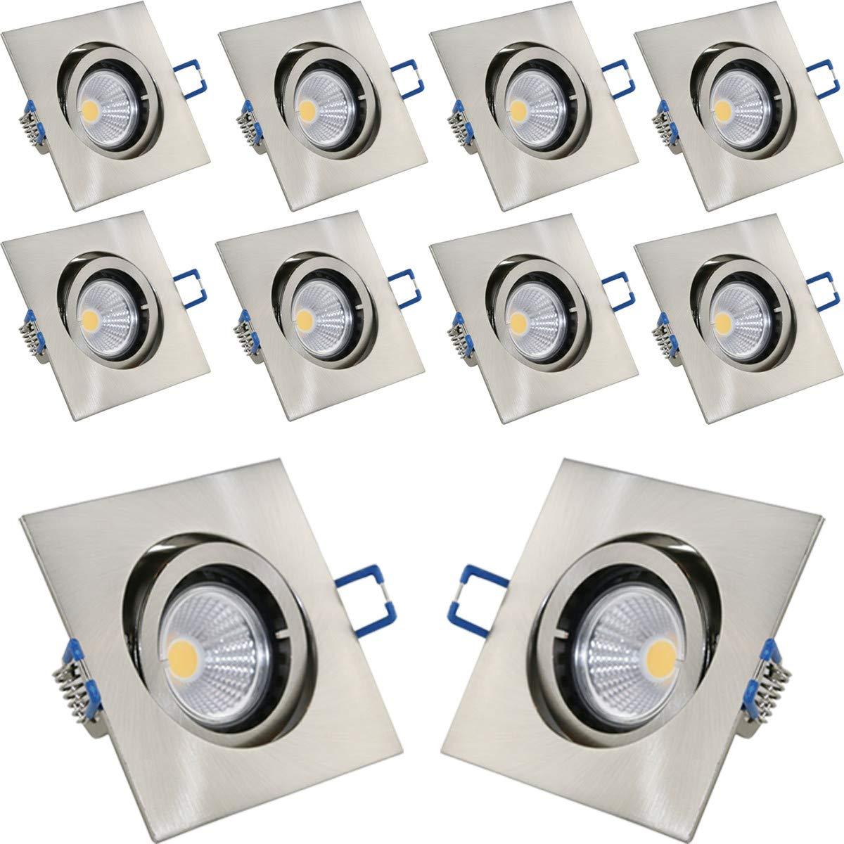 10er Set VBLED Einbaustrahler Aluminium gebürstet eckig mit 3,5W COB LED Leuchtmittel 230V (vergleichbar mit 40W Halogen) warmweiß (Einbauleuchte Einbauspot Decken) schwenkbar (Aluminium gebürstet)