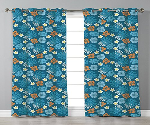 iPrint Satin Grommet Window Curtains,Luau,Tropical Plants Pattern with Swiss Cheese Plants and Exotic Flowers Growth Image,Blue Marigold,2 Panel Set Window Drapes,for Living Room Bedroom Kitchen Cafe