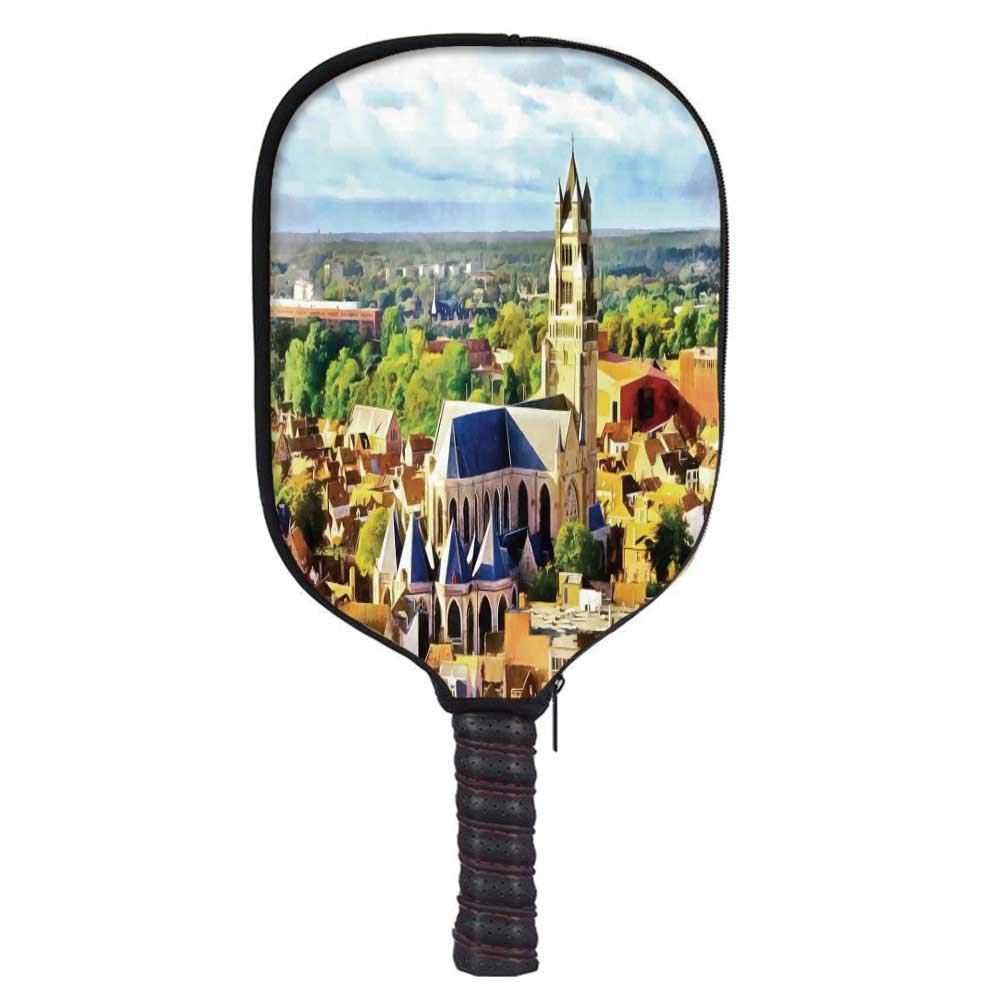 Medieval Decor Fashion Racket Cover,Aerial Photo of Old Medieval Church and Gothic Town Middle Age Renaissance Europe Building for Playground,8.3'' W x 11.6'' H