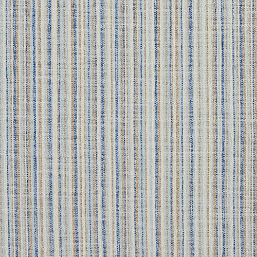Coastal Beige and Light Blue Small Scale Stripe Tweed Upholstery Fabric by the yard (Coastal Fabrics For Upholstery)