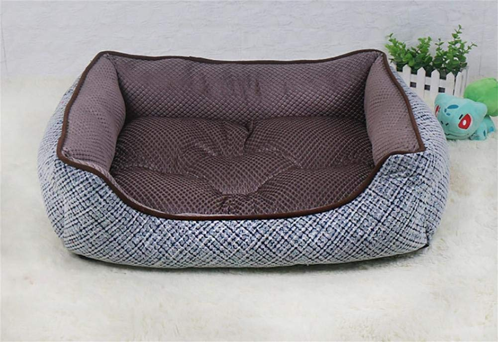 Kennel Pads Dog Beds Pet Bed for Cats and Small Dogs Rectangle, Washable Cat Bed Pet Supplies Cover (color   Brown, Size   M)