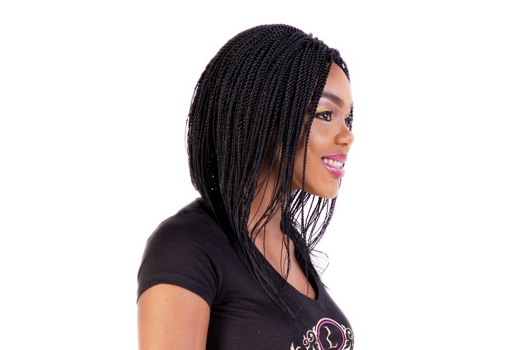 Rope Twist Wig Black Women Wig Fully Hand Braided Box Braids Lace Wig