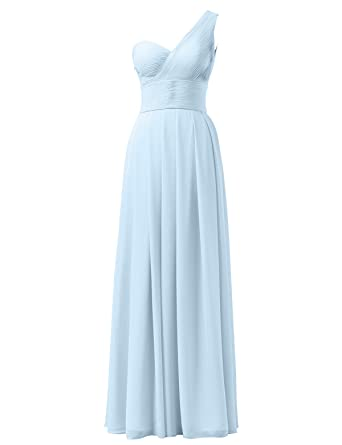 AWEI Bridal Maxi Bridesmaid Dress In One Shoulder Design Formal Pleated Evening Gown Womens Ruched Prom